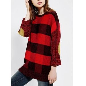 Urban Outfitters BDG Knit Plaid Tunic Sweater